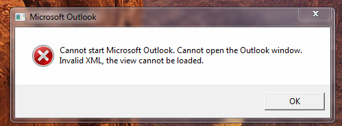 Cannot Open The Outlook Window >> Outlook Cannot Open The Outlook Window Invalid Xml The View Cannot